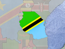Tanzania with flag on globe Royalty Free Stock Photography