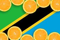 Tanzania flagga i citrusfruktskivahorisontalram arkivfoto