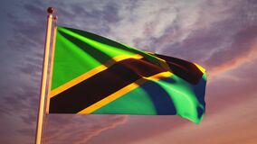 Tanzania flying flag at sunset dramatic sky - animation footage