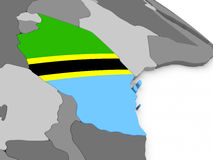 Tanzania on globe with flag Royalty Free Stock Images