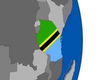 Tanzania on globe with flag Stock Photos