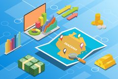 Tanzania isometric financial economy condition concept for describe country growth expand - vector. Illustration stock illustration