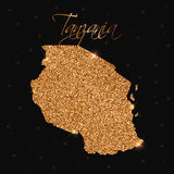 Tanzania map filled with golden glitter. Royalty Free Stock Photography
