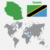 Tanzania map on a world map with flag and map pointer. Vector illustration Royalty Free Stock Photography
