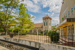Tanzania - Mwanza. Local church in the city centre of Mwanza, on a blue cloudy day Royalty Free Stock Photos