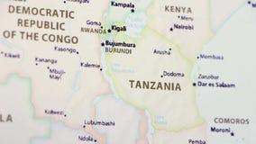Tanzania op een Kaart stock footage