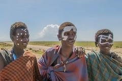 Tanzania - Original Masai inhabitents @ Serengeti National Park royalty free stock photography
