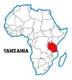 Tanzania Africa Map. Tanzania outline inset into a map of Africa over a white background Royalty Free Stock Image