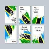 Tanzania Patriotic Cards for National Day. Expressive Brush Stroke in National Flag Colors on white card background. Tanzania Patriotic Vector Greeting Card Royalty Free Stock Photos