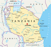 Tanzania Political Map. Political map of Tanzania with the capital Dodoma, national borders, most important cities, rivers and lakes. Vector illustration with Royalty Free Stock Images