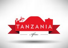 Tanzania Skyline with Typography Design royalty free illustration