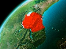 Tanzania from space in evening. Evening over Tanzania as seen from space on planet Earth. 3D illustration. Elements of this image furnished by NASA Stock Photos