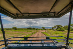 Tanzania - Tarangire National Park. The rural landscape of Tarangire National Park seen from a standing position in a driving 4x4 landcruiser Royalty Free Stock Photo