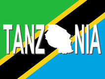 Tanzania text with map stock illustration