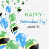 Tanzania, United Republic of Independence Day. Tanzania, United Republic of Independence Day Greeting Card. Flying Balloons in Tanzania, United Republic of Stock Photography