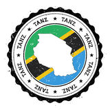 Tanzania, United Republic of map and flag in. Royalty Free Stock Photography