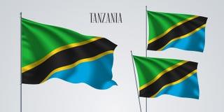 Tanzania vinkande flaggauppsättning av vektorillustrationen Royaltyfri Fotografi