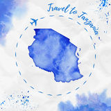 Tanzania watercolor map in blue colors. Stock Images