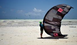 Tanzania, Zanzibar - February 4, 2018. Kitesurfers on Paje Beach royalty free stock photos