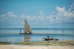 Tanzania. Zanzibar sea fisherman ocean boat Royalty Free Stock Images
