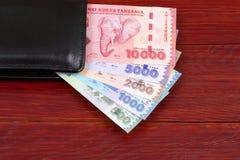 Tanzaniaans geld in de zwarte portefeuille