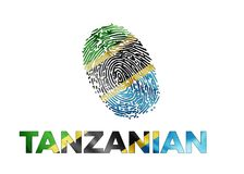 Tanzanian fingerprint with a flag. This is the Map of Tanzania full filled with Flag Colors with beautiful shadow and highlight Royalty Free Stock Images