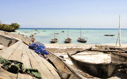 Tanzanian fishing boats. Of Zanzibar island Royalty Free Stock Photos