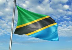 Tanzania flag waving with sky on background realistic 3d illustration. Tanzanian national flag realistic waving blue sky background 3d illustration vector illustration