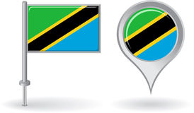 Tanzanian pin icon and map pointer flag. Vector Royalty Free Stock Images