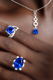 Tanzanite e progettista Jewellery dei diamanti Immagine Stock