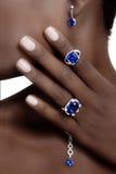 Tanzanite en Diamantenontwerper Jewellery Royalty-vrije Stock Afbeeldingen