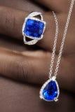 Tanzanite en Diamantenontwerper Jewellery Stock Afbeeldingen