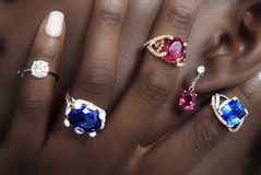 Tanzanite, Rubellite and Diamonds, Designer Jewellery on the Skin Royalty Free Stock Photography