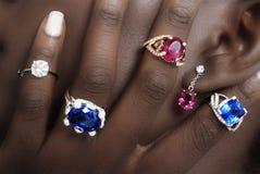 Tanzanite, Rubellite et diamants, concepteur Jewellery sur la peau Photographie stock libre de droits