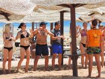 Tanzen auf den Strand Stockfoto