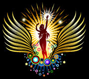 Tanzen-Mädchen-Schattenbild-Emblem Stockfotografie