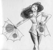 Tanzen mit Papiergebläsen Stockfoto