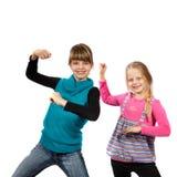 Tanzen mit zwei Mädchen Lizenzfreies Stockfoto