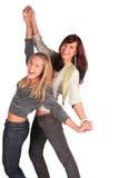 Tanzen mit zwei Mädchen Lizenzfreie Stockfotografie