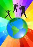 Tanzen oben auf die Welt Stockbild