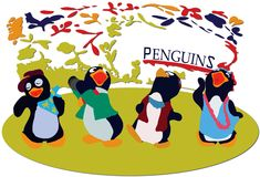 Tanzen-Pinguine Lizenzfreies Stockfoto