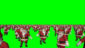 Tanzen Santa Claus Crowd Loop (grüner Schirm) stock footage