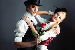 Tanzen Sie mit einer Rose Stockfoto