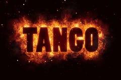 Tanzen Sie Tangotext auf Feuerflammen-Explosion Burning Lizenzfreies Stockbild