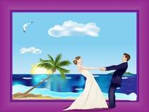 Tanzen-verheiratetes Paar auf Strand lizenzfreie abbildung