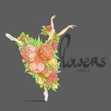 Tanzenballerina in den Blumen Lizenzfreies Stockfoto