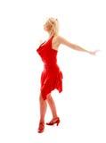 Tanzendame im Rot Lizenzfreie Stockfotos