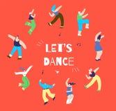 Tanzende Disco-Mann-Frauen-aktionsorientierte Fahne stock abbildung