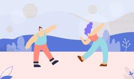 Tanzende multi ethnische Paar-flache Fahnen-Schablone stock abbildung
