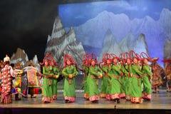 Tanzende Show der tibetanischen Leute Nacht, Jiuzhaigou Lizenzfreie Stockbilder